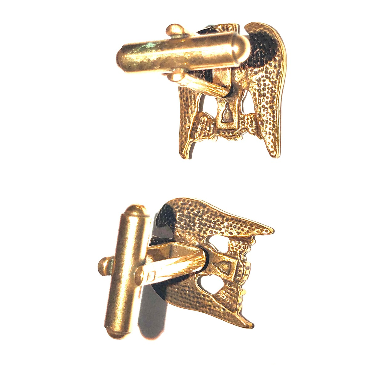 Eagle On Olive Branch Cufflinks Antique Gold Finish Museum Store Collection