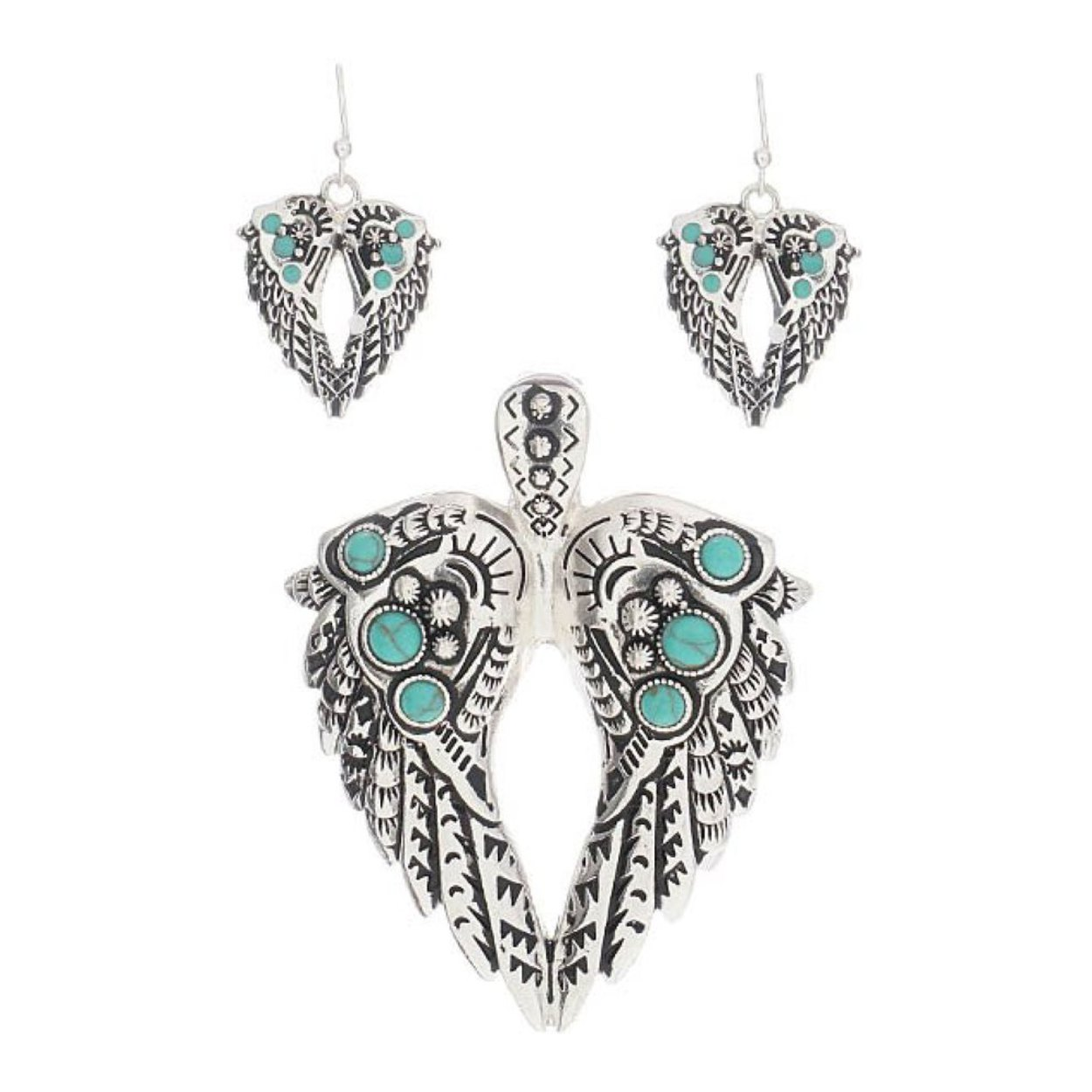 Large antiqued angel wings turquoise aztec pendant with earrings large antiqued angel wings turquoise aztec pendant with earrings mozeypictures Gallery