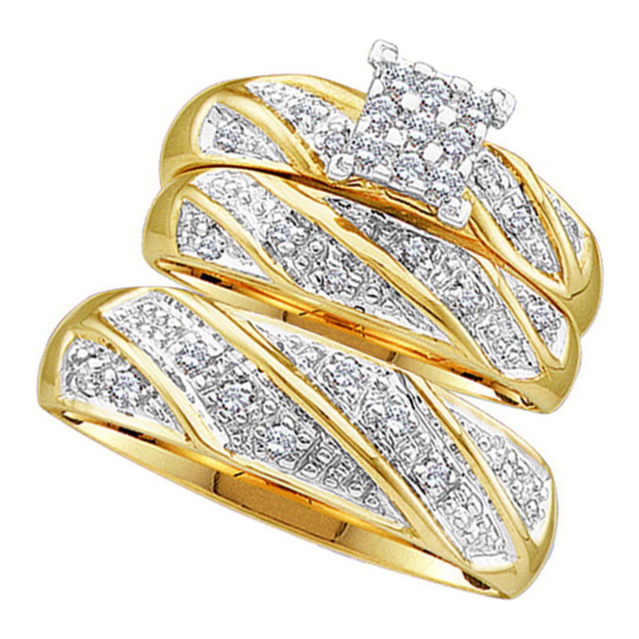 solid 10k yellow gold real diamond wedding ring sets his and hers trio 13 cttw - Real Diamond Wedding Rings