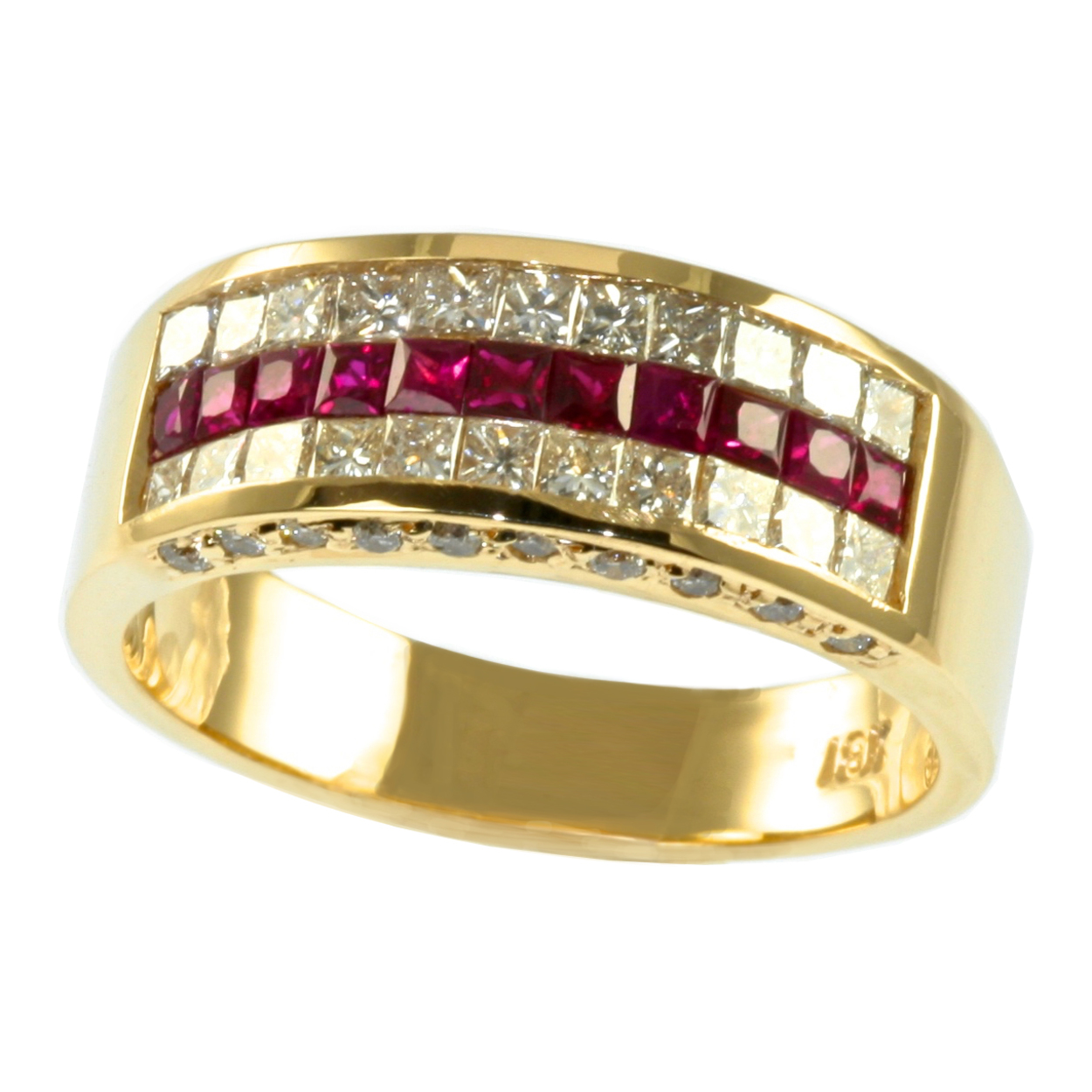 18K Yellow Gold 2 CTTW Invisible Set Real Princess Ruby Diamond