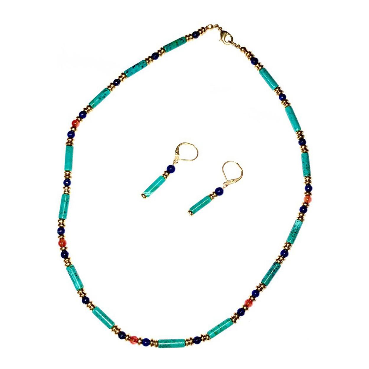 Beautiful  turquoise  blue swirls pendant and earring set.