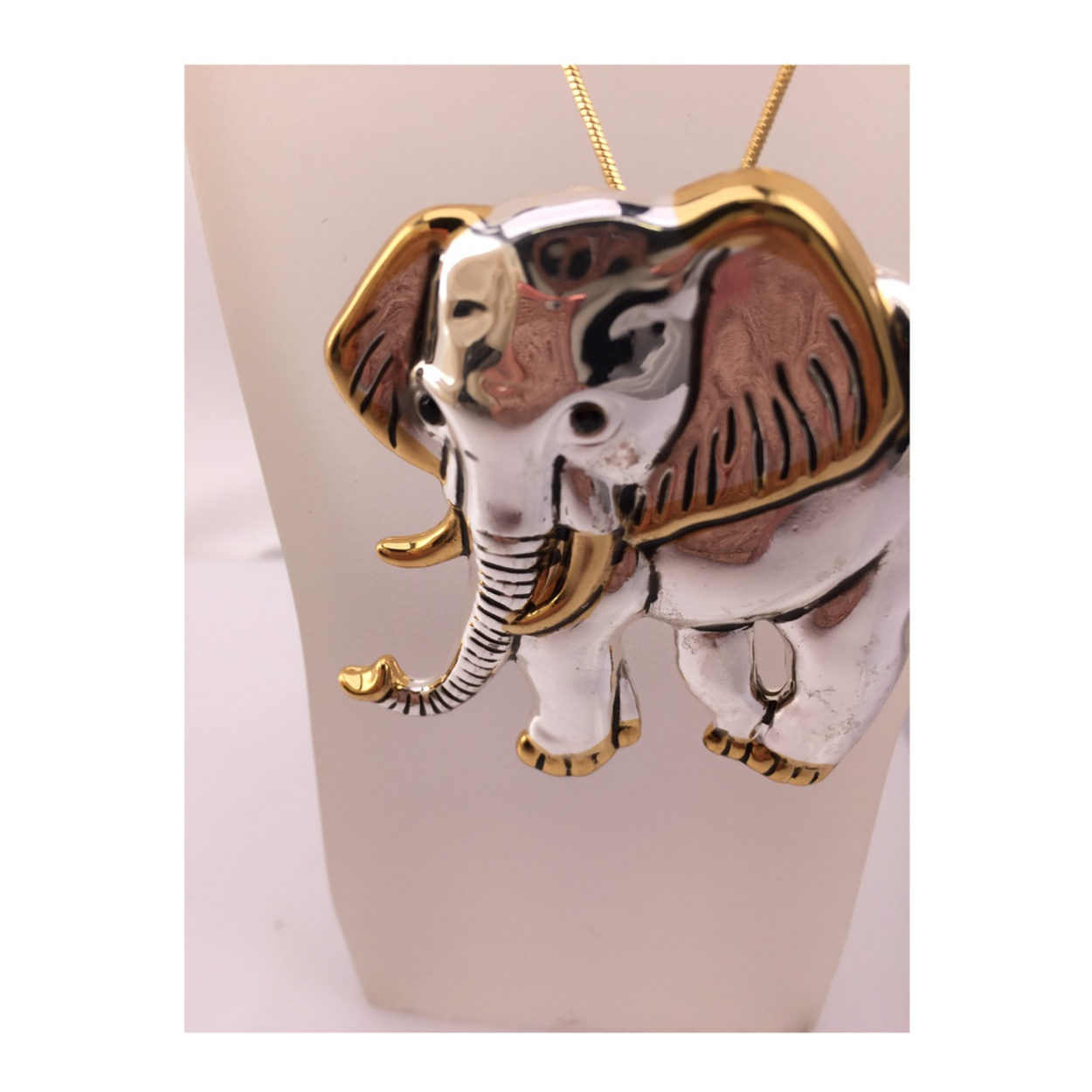 Two Elephants Gold Finish Brooch Pin