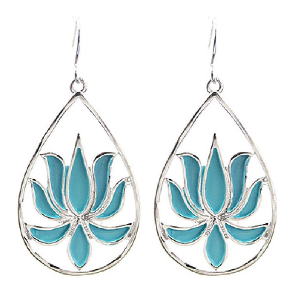 Aqua Blue Open Teardrop Lotus Flower Earrings 175 Authentic Lotus