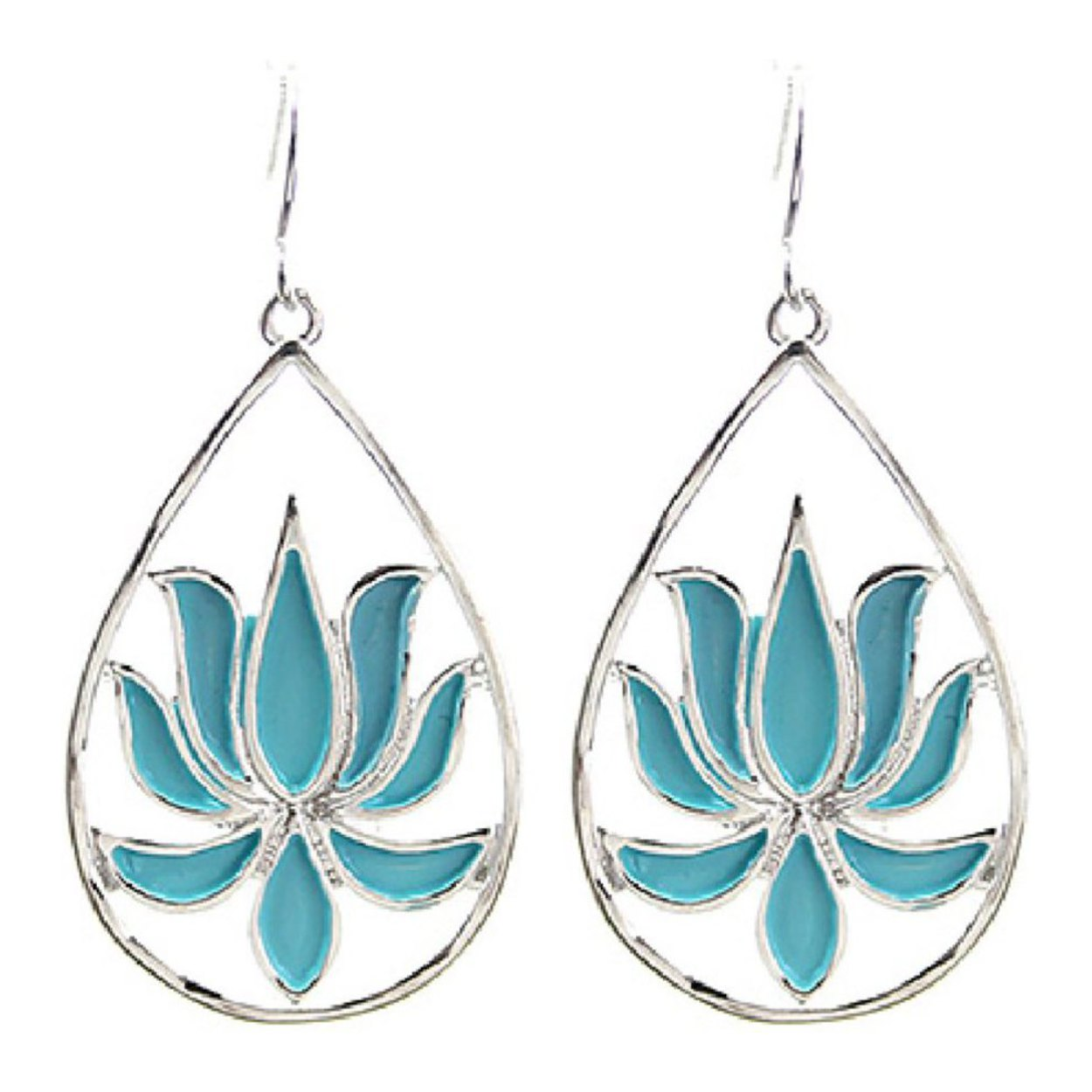 Aqua blue open teardrop lotus flower earrings 175 authentic lotus lotus flower teardrop earrings inspired by ancient egypt are decorated in an aqua blue enameling earrings hang 175 inch flower measures 20mm by 22mm izmirmasajfo