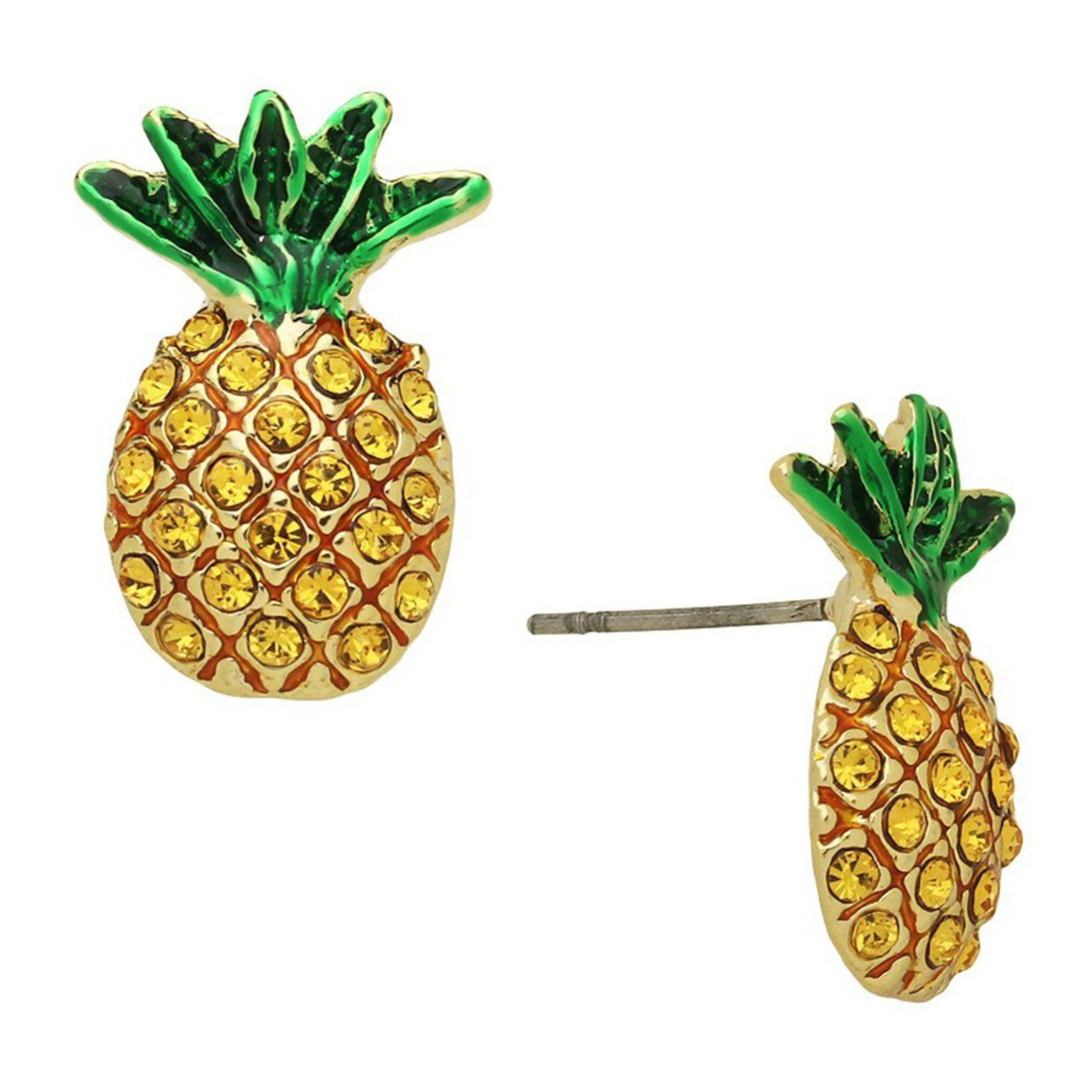 Gold Plated Cut-Out Pineapple Stud Earrings tropical fruit