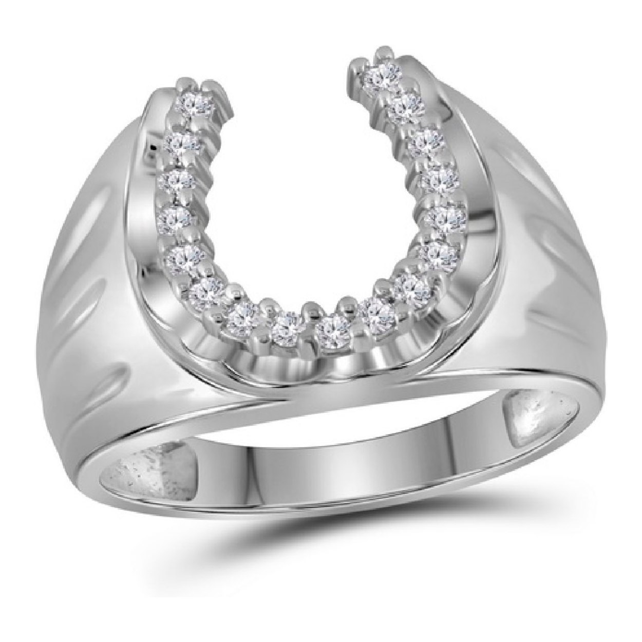 Mens Solid 10k White Gold 1 4ctw Real Diamond Lucky Horseshoe Wedding Band Ring