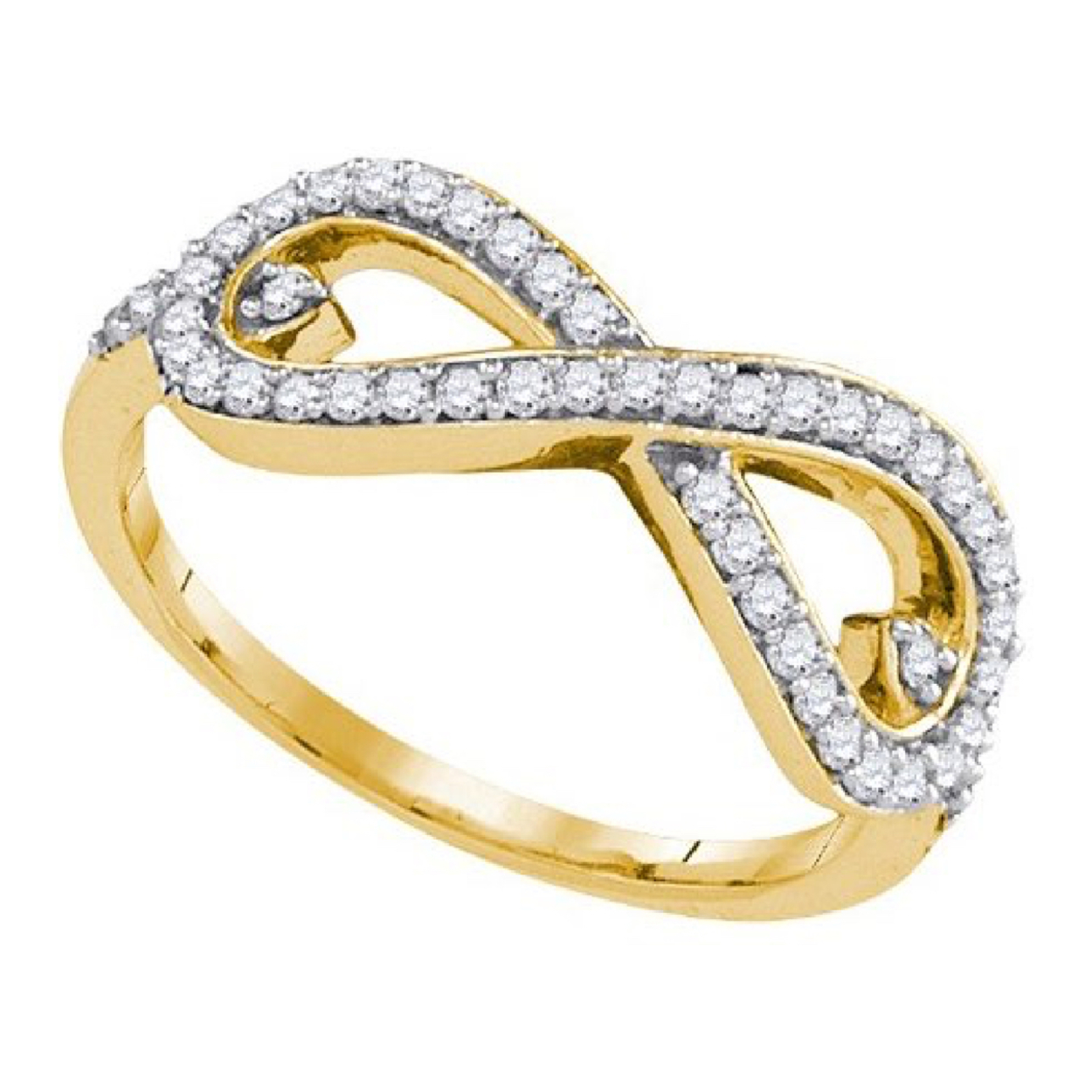 Solid 10k Yellow Gold 1 3 Cttw Real Diamond Infinity Love Knot