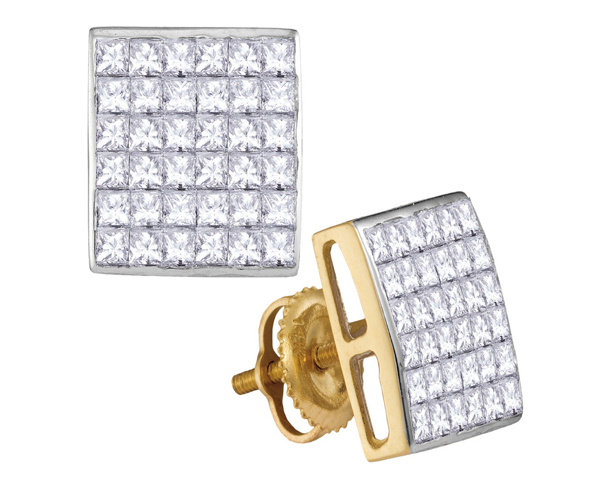white set cut princess invisible earrings diamond boca product raton square earring gold
