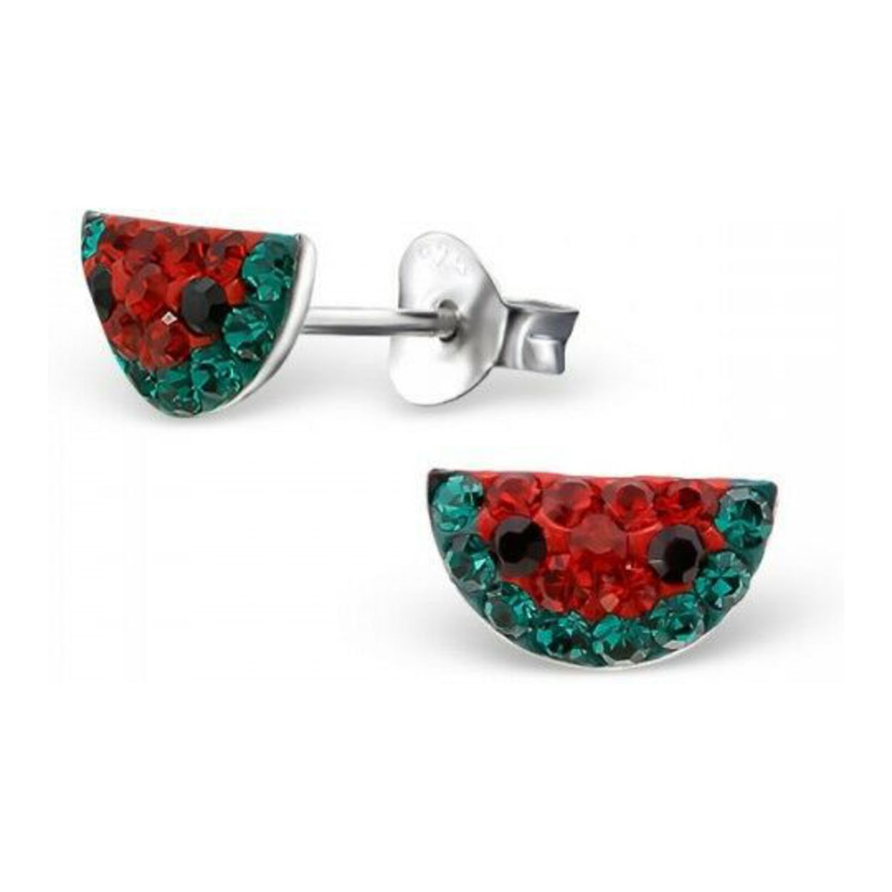Sterling Silver Rhodium-plated Red /& Green Crystal Cherry Post Stud Earrings